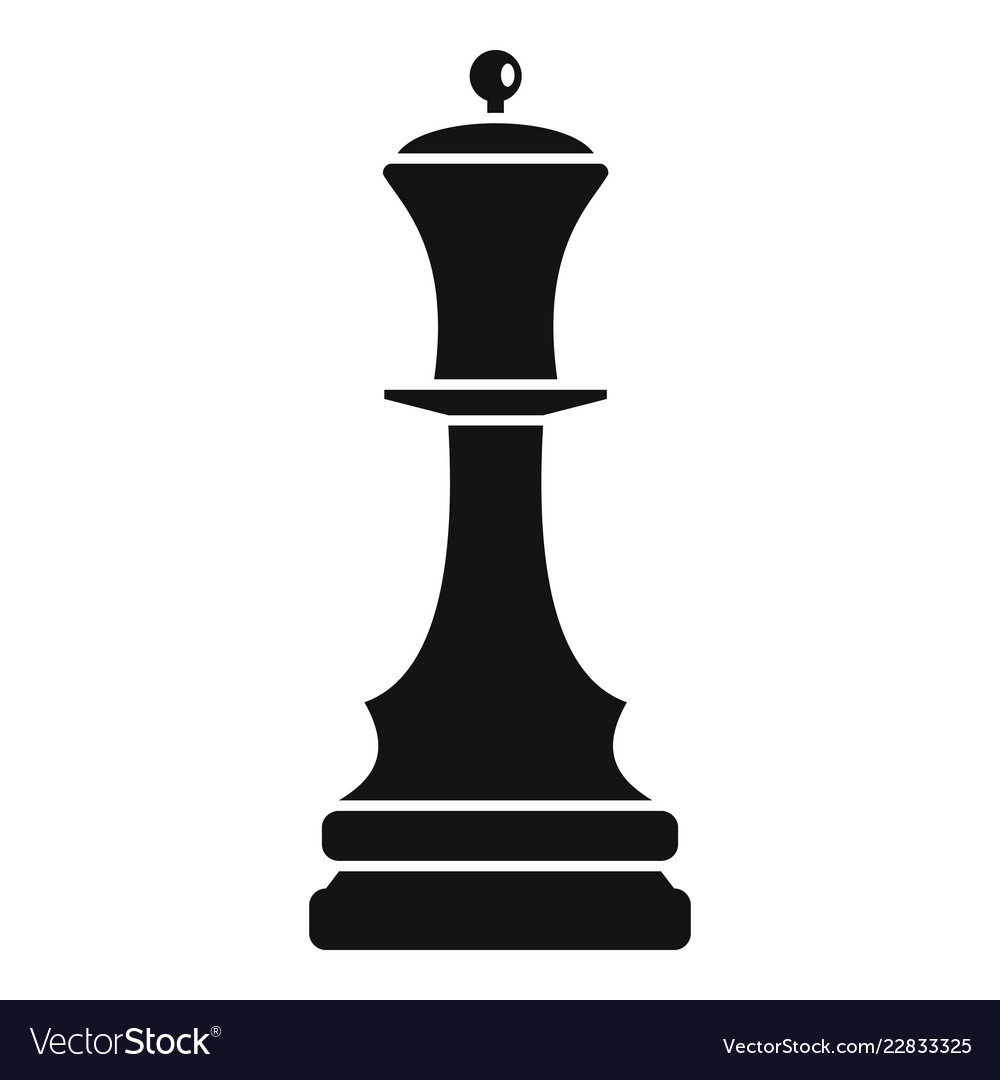 Black queen chess icon simple style.