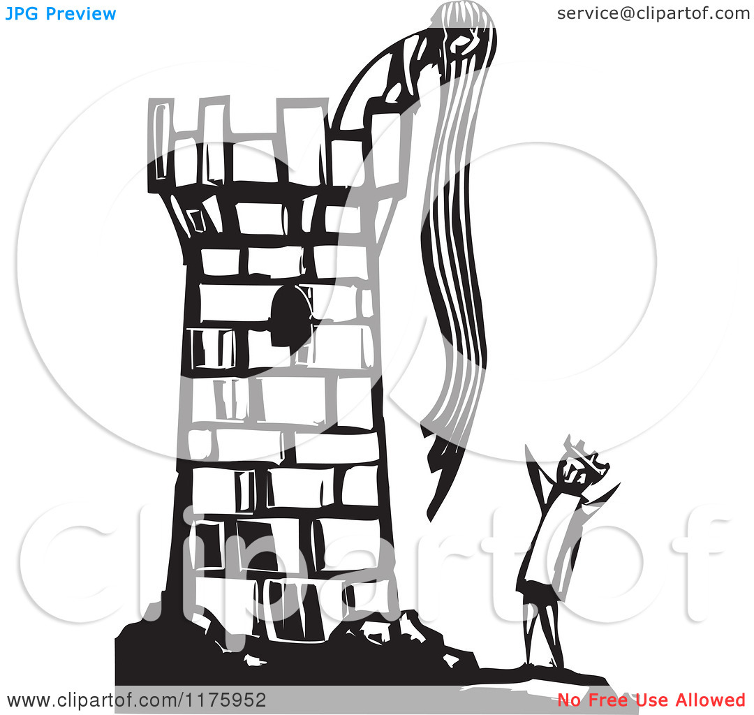 Clipart of Rapunzel Throwing down Her Hair to a Knight Black and.