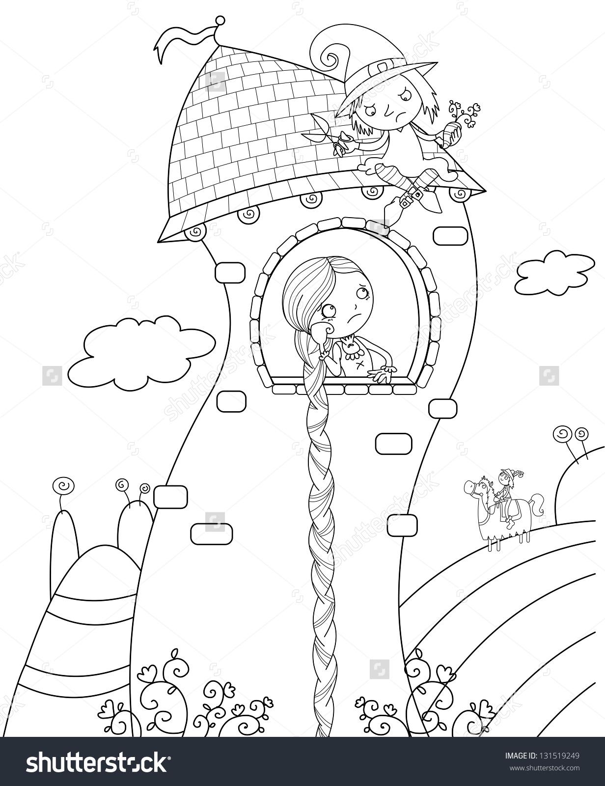 Rapunzel Tower Black White Illustration Stock Illustration.