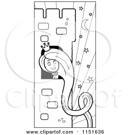 Cartoon Clipart Of A Black And White Rapunzel with Her Hair.