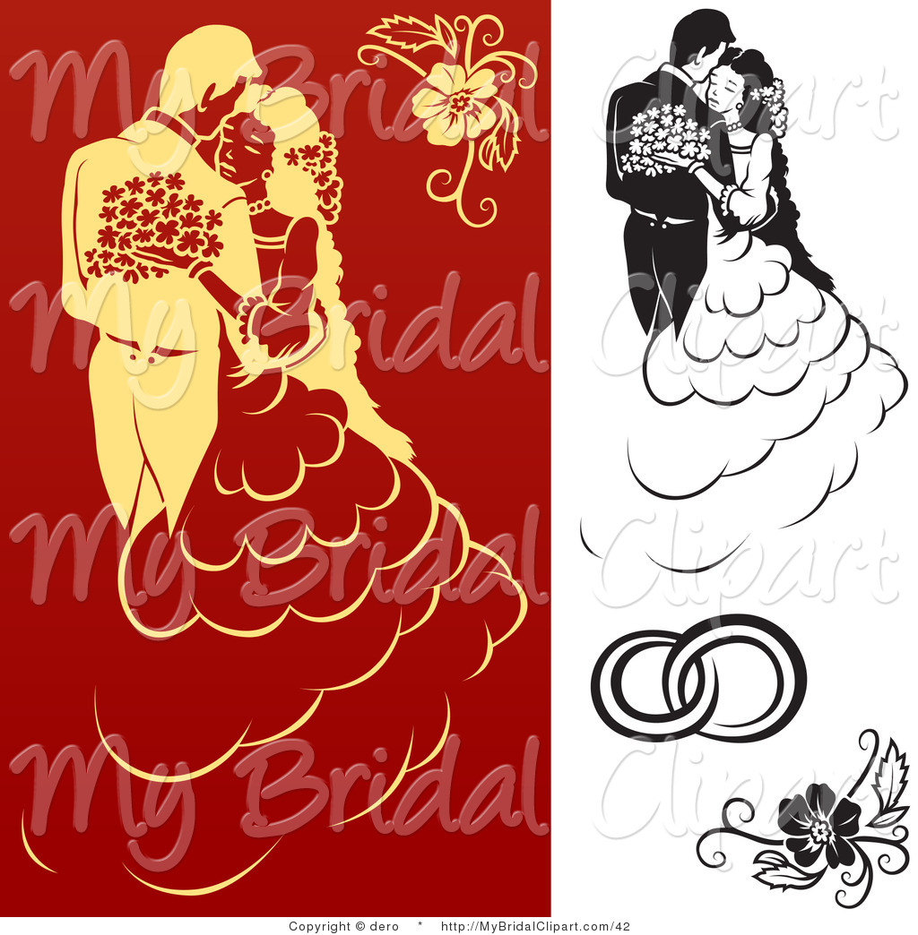 Bridal Clipart of a Digital Collage of Black on White and Red on.