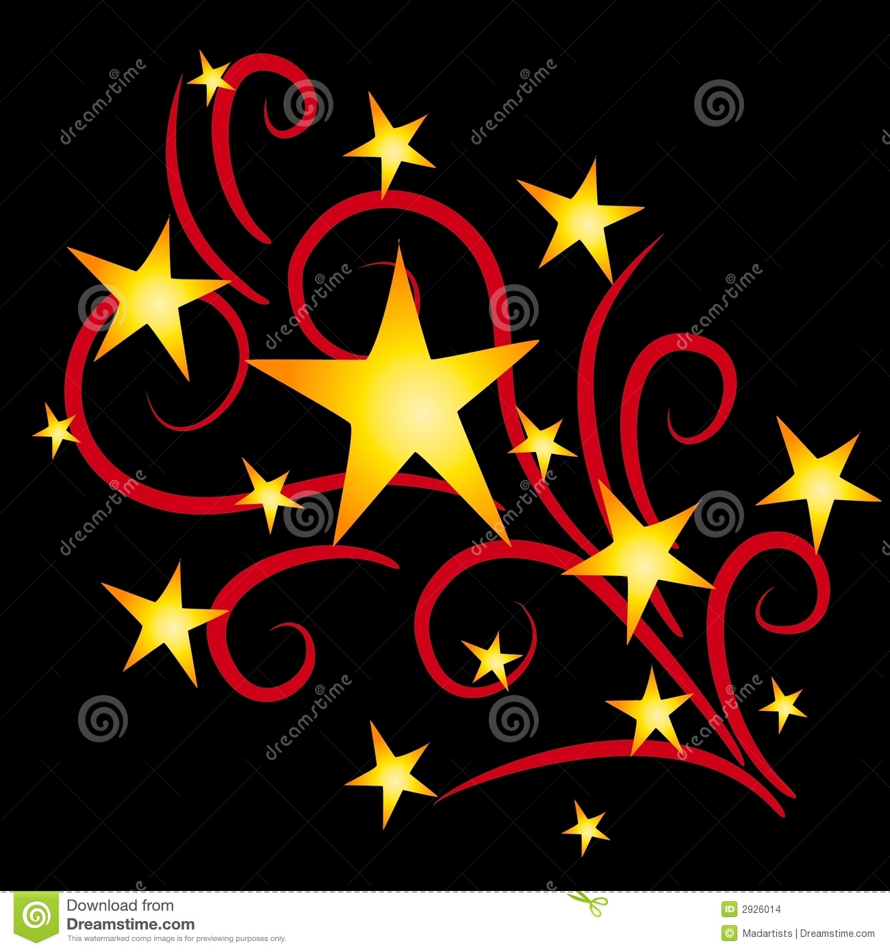 Red star fireworks clipart.