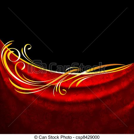 Vector Clipart of Red fabric drapes on black background, gold.