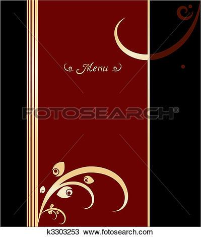 Clipart of Red, gold and black vintage menu cover design k3303253.