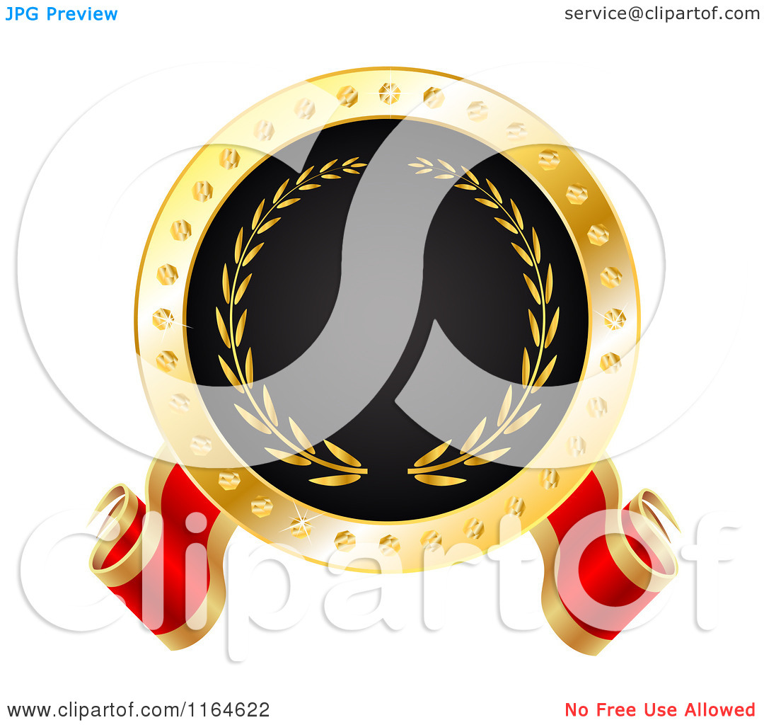 Clipart of a Red Gold and Black Best or Winner Tag.