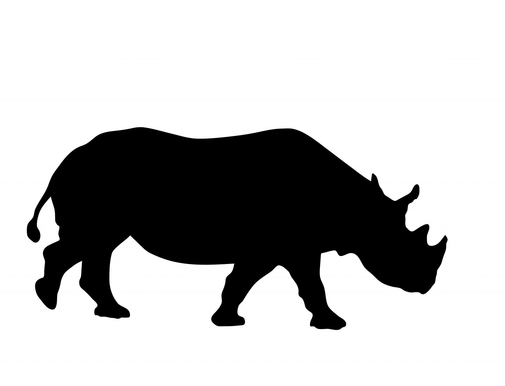 Rhino Silhouette Clipart Free Stock Photo.