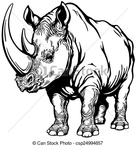 Clipart Vector of rhinoceros black and white.
