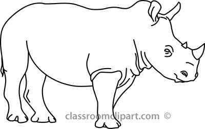 Rhinoceros clipart black and white.