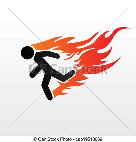 Burning man running clipart.