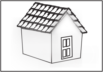 White house black roof clipart.