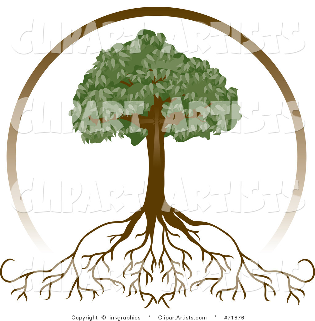 Black And White Tree With Roots Clipart.