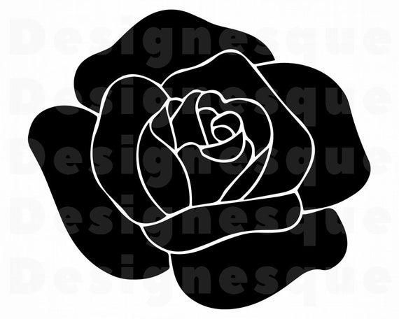 Black Rose SVG, Rose SVG, Flower SVG, Rose Clipart, Rose Files for Cricut,  Rose Cut Files For Silhouette, Rose Dxf, Rose Png, Eps, Vector.