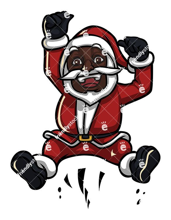 A Black Santa Claus Jumping Up In The Air And Cheering.