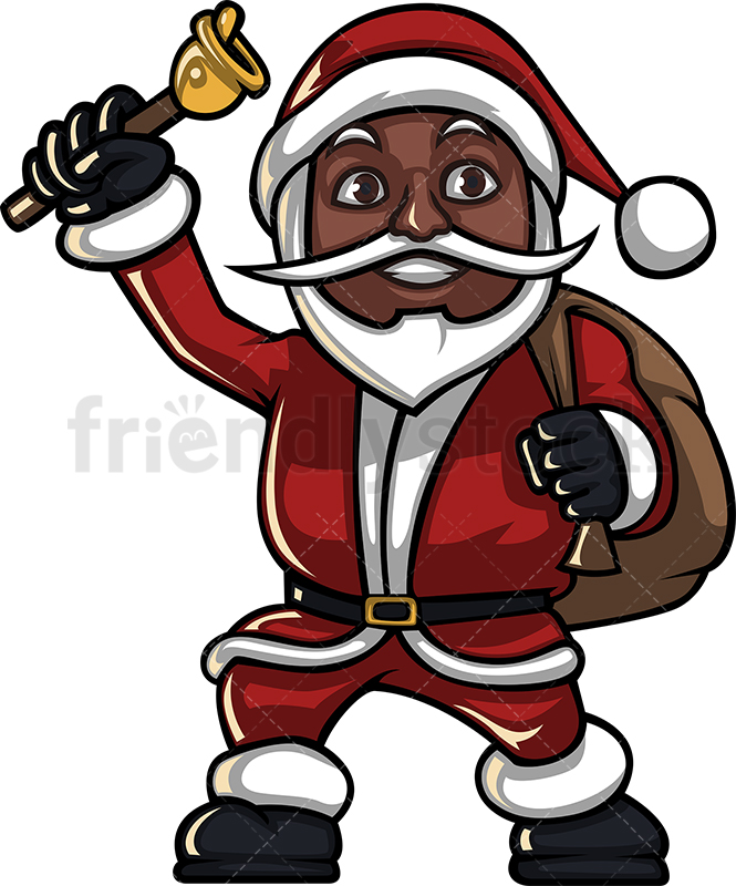 A Black Santa Claus Ringing A Christmas Bell While Carrying A Gift Sack.