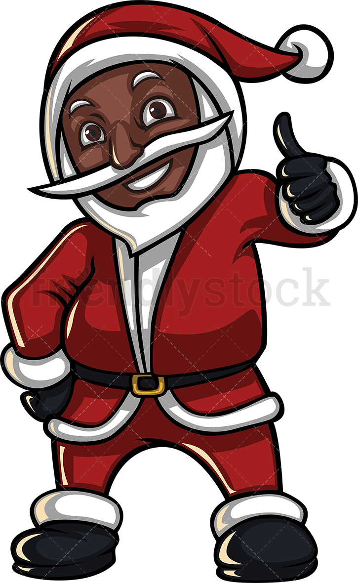 A Black Santa Claus Giving The Thumbs Up.