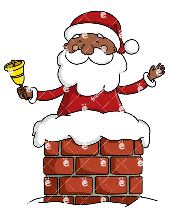 Black Santa Claus In A Chimney Ringing A Christmas Bell.