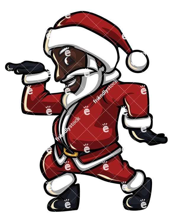 An Energetic Black Santa Claus Smiling And Making A Disco.