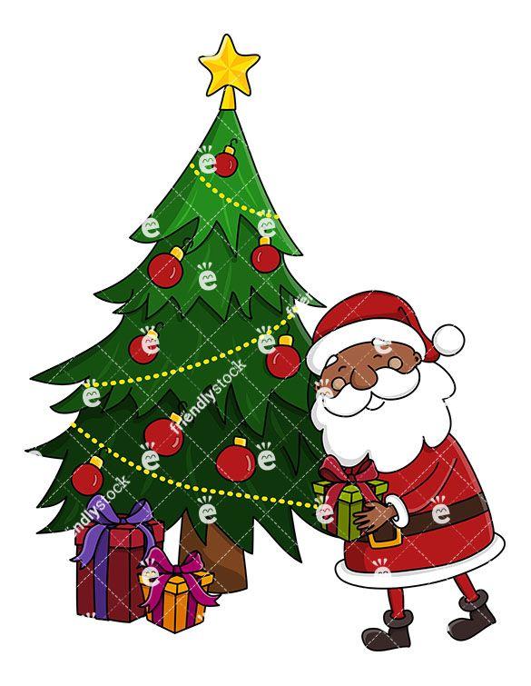 Black Santa Claus Leaving A Present Under A Christmas Tree.