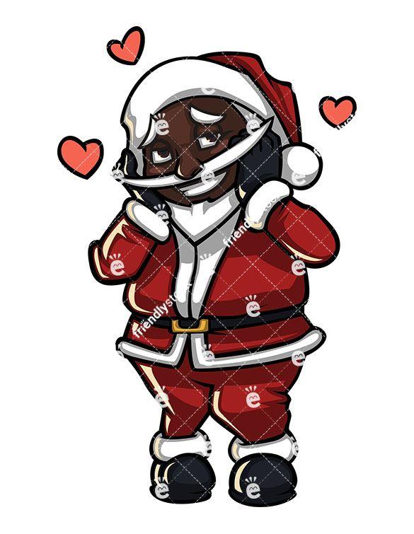 A Shy Black Santa Claus Feeling In Love.