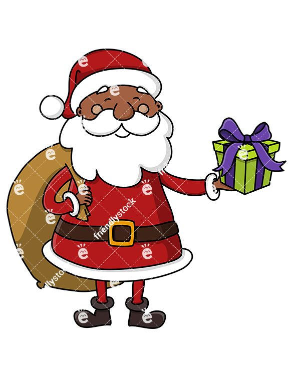 Black Santa Claus With A Gift Bag On His Back Offering A.