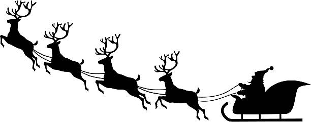 Download Free png Santa Sleigh Clipart Black And White (93+.