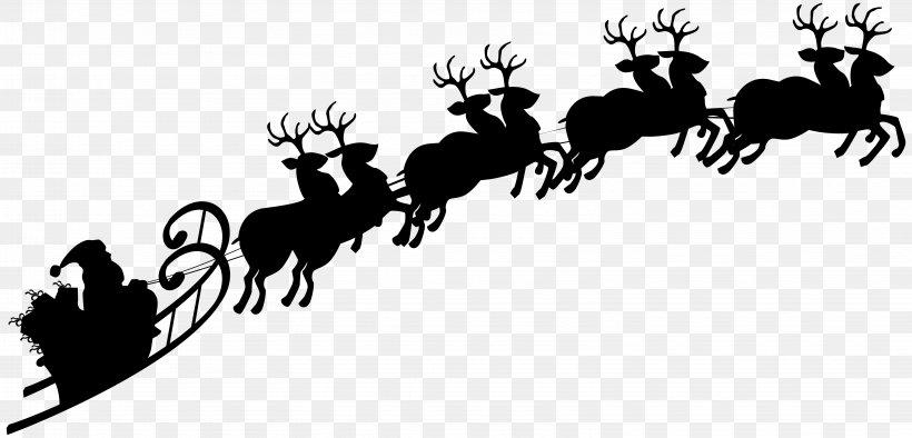 Reindeer Santa Claus Silhouette Sled Clip Art, PNG.