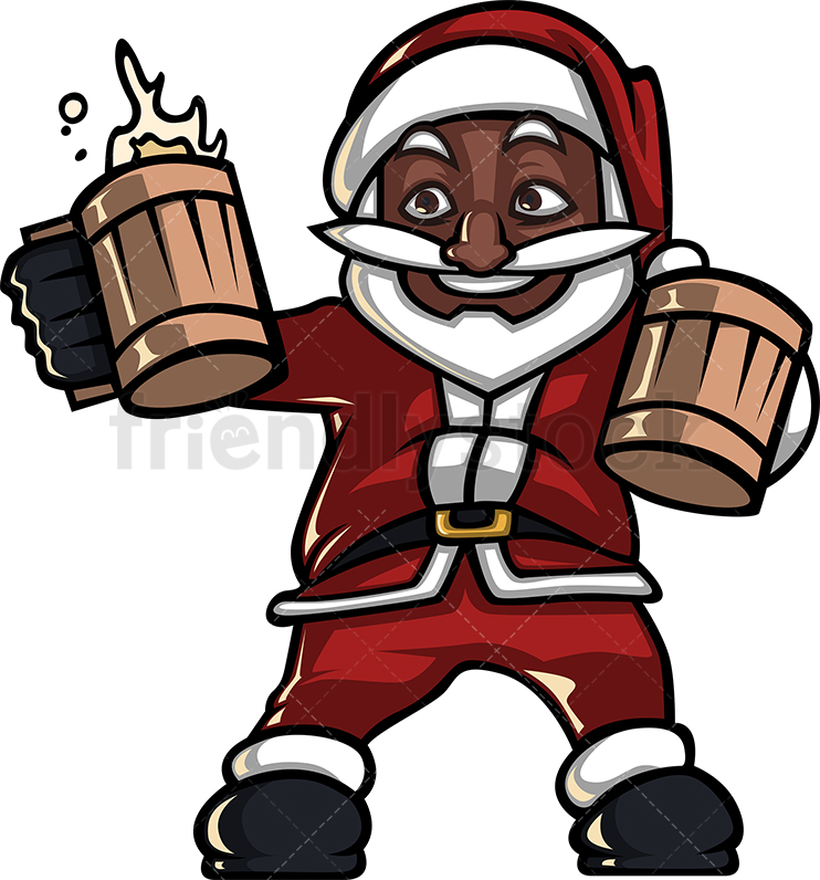 A Black Santa Claus Holding Two Mugs Of Beer Getting Ready To Drink.
