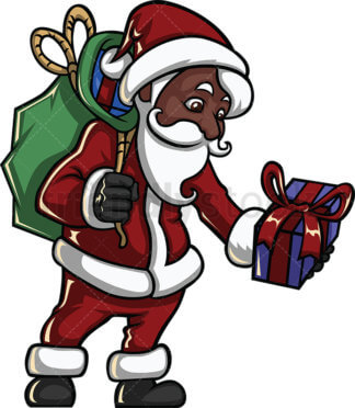 Black Santa Claus Riding A Sleigh With Reindeers And A Gift Sack Full Of  Presents.
