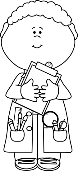 Black and White Boy Scientist with a Clipboard.