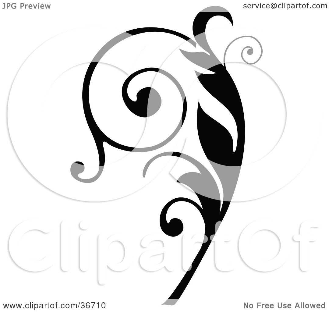 Clipart Illustration of a Black Silhouetted Elegant Curly Leafy.
