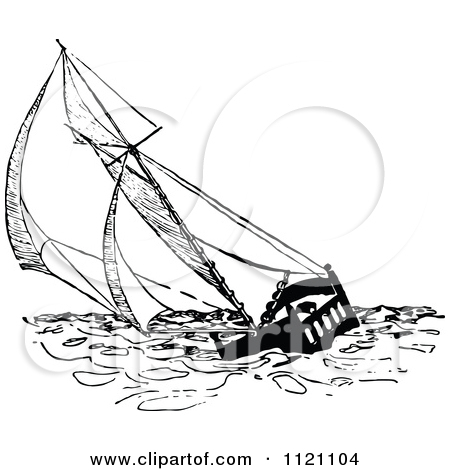Clipart of a Black and White Sun and Sea Circle.