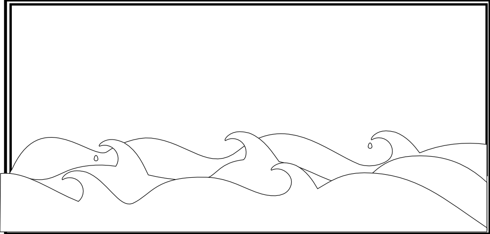 Waves black and white sea waves black white line art coloring book.