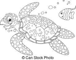 Sea turtle swirl clipart black and white.