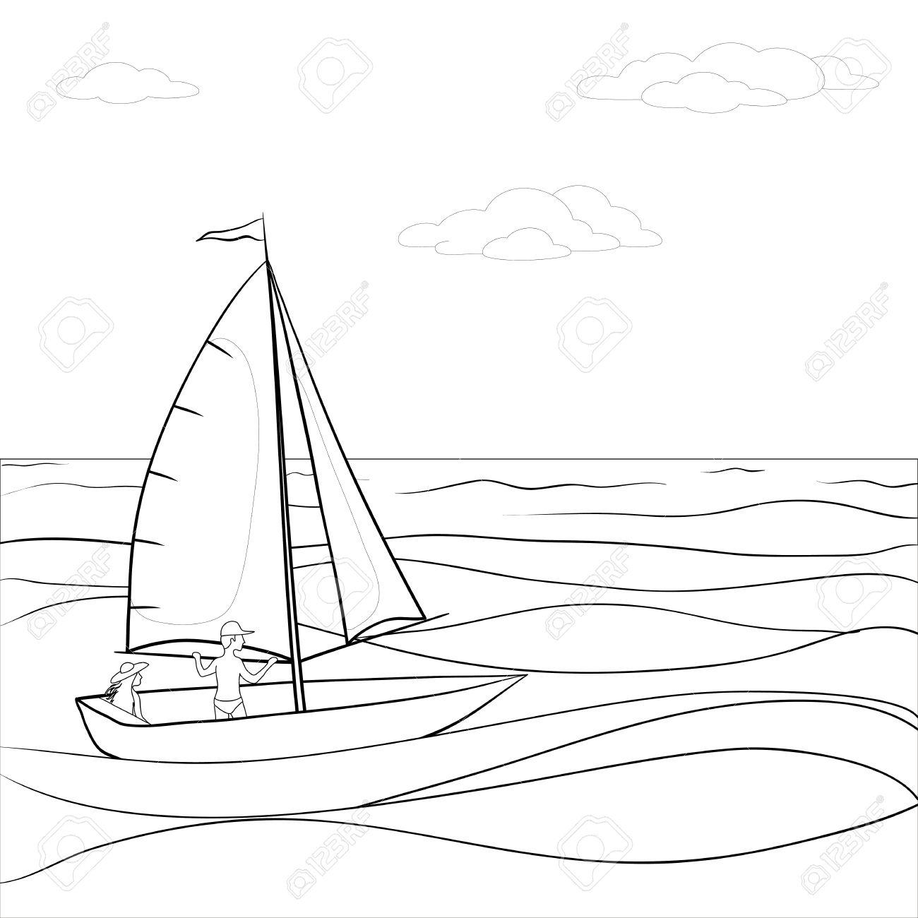 Clipart sea black and white.