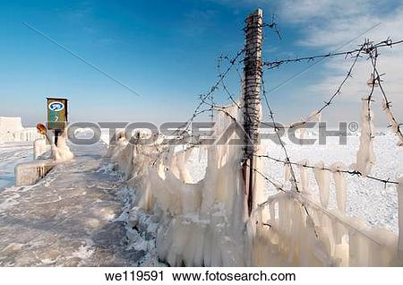 Stock Photography of Icy barbed wire, frozen Black Sea, a rare.