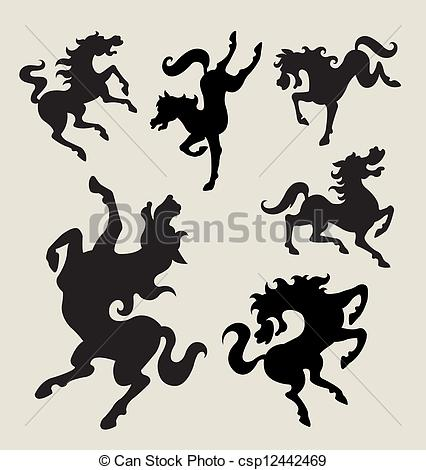 Clip Art Vector of Horse dancing silhouettes vector.