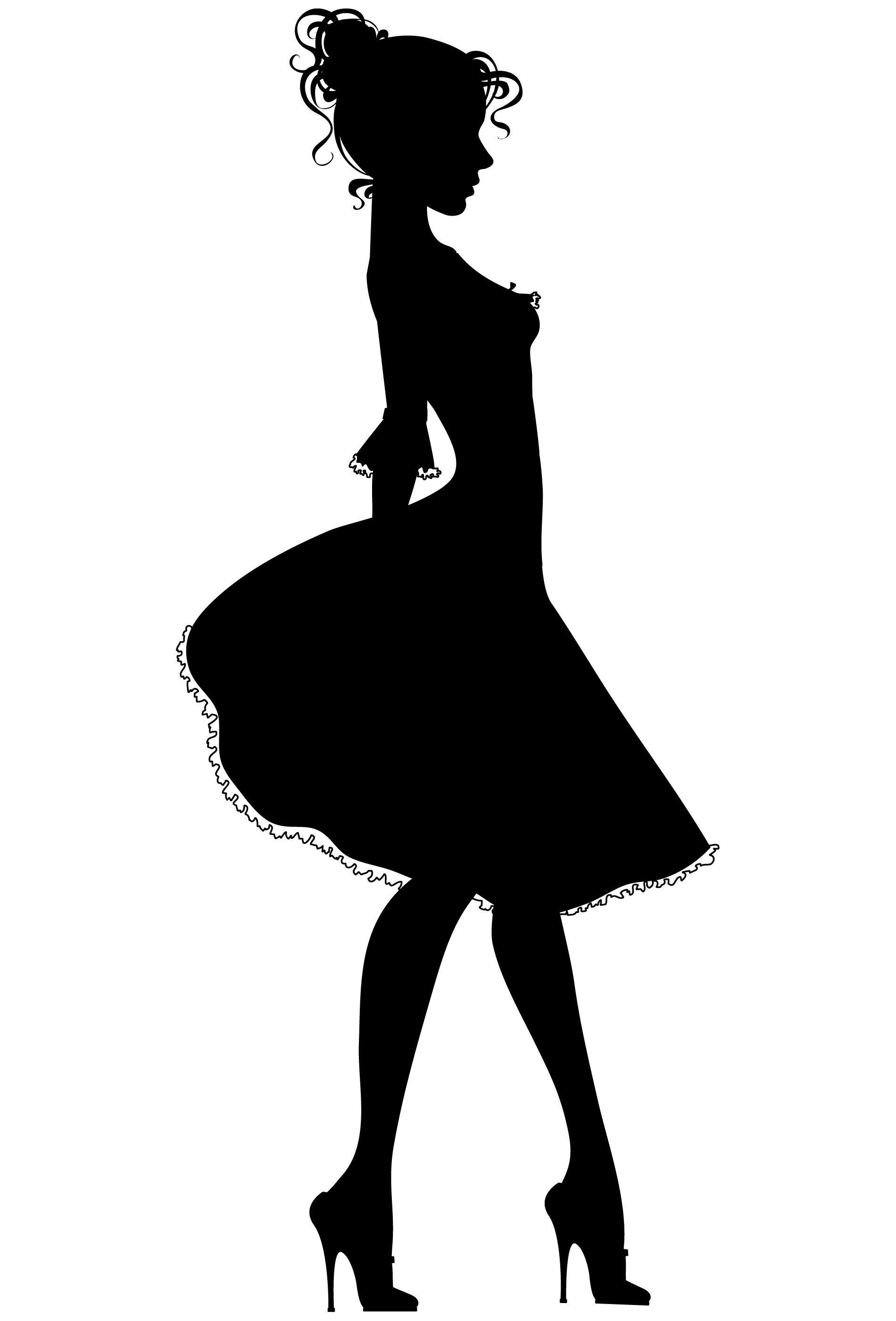 clipart little girl sitting with umbrella silhouette #10