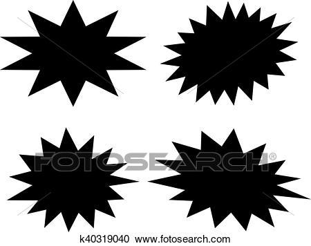 Black star shapes Clipart.