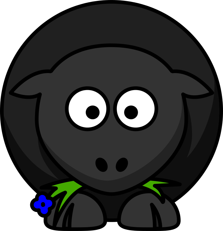 Free Clipart: Cartoon Black Sheep.