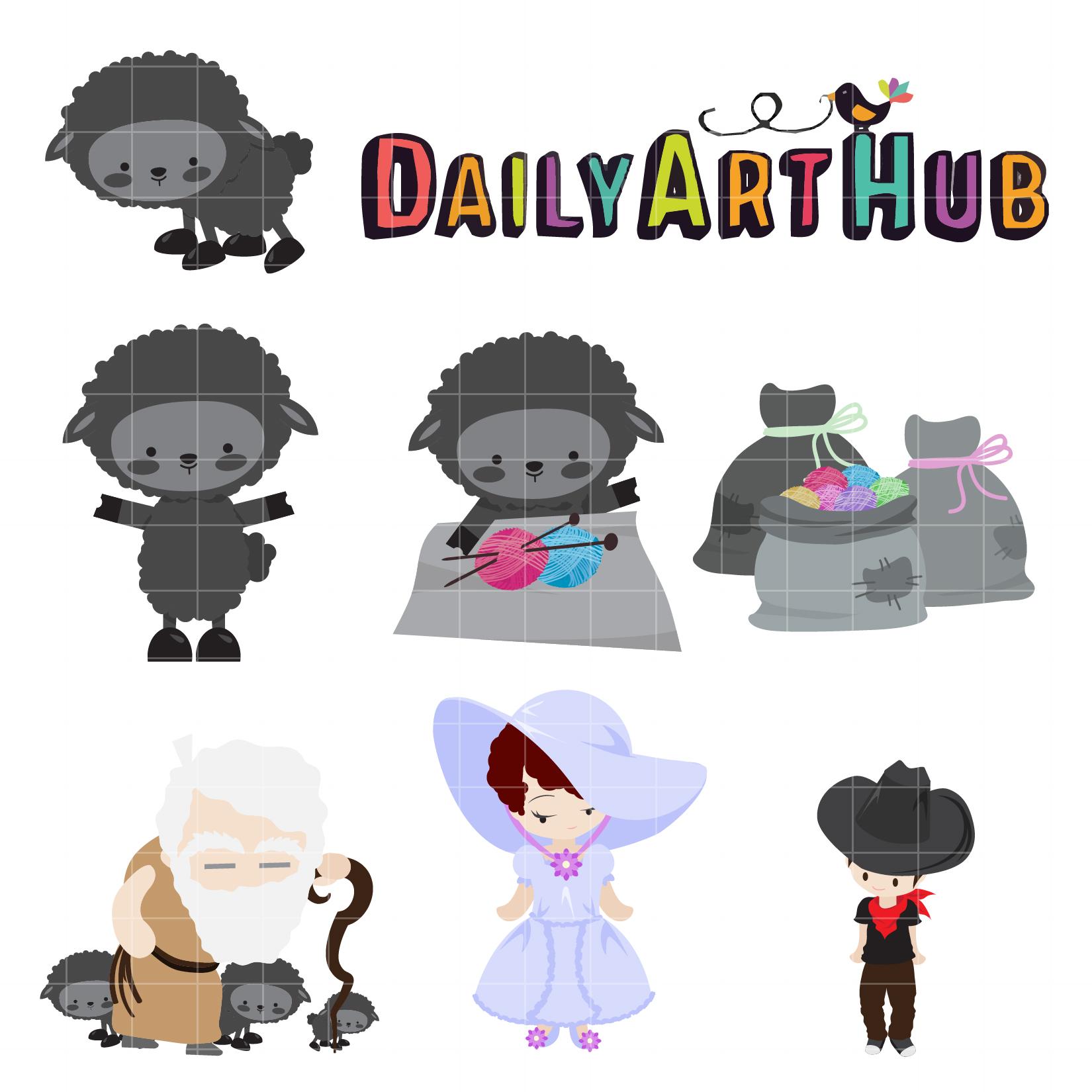 Baa Baa Black Sheep Clip Art Set.