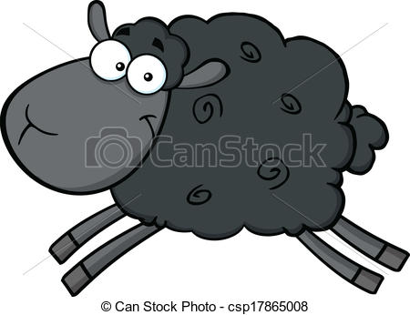 Vector Clipart of Cute Black Sheep Character.