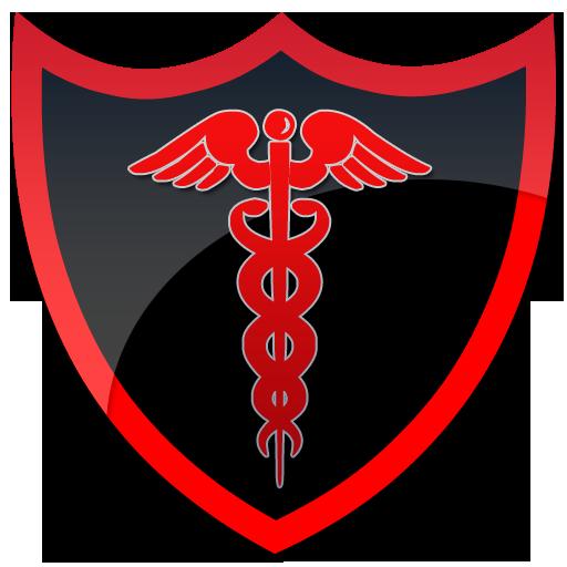 Caduceus black shield clipart image.