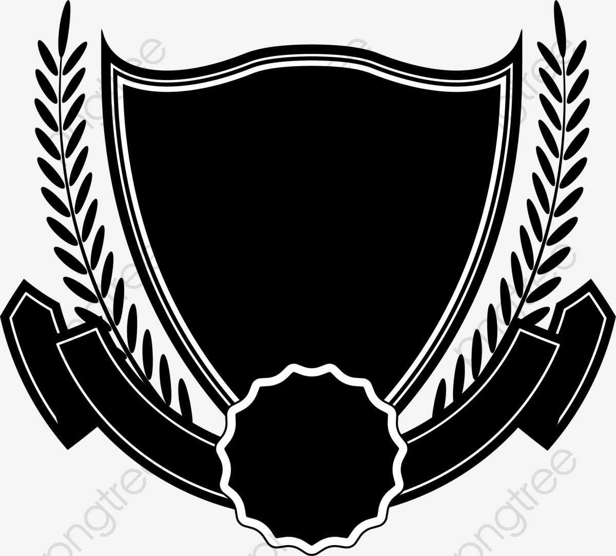 Black Shield Ribbon, Shield Clipart, Ribbon Clipart, Black PNG.