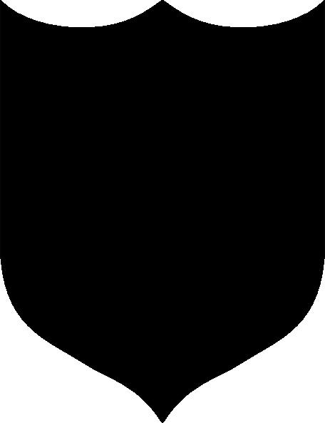 Solid Black Shield clip art.