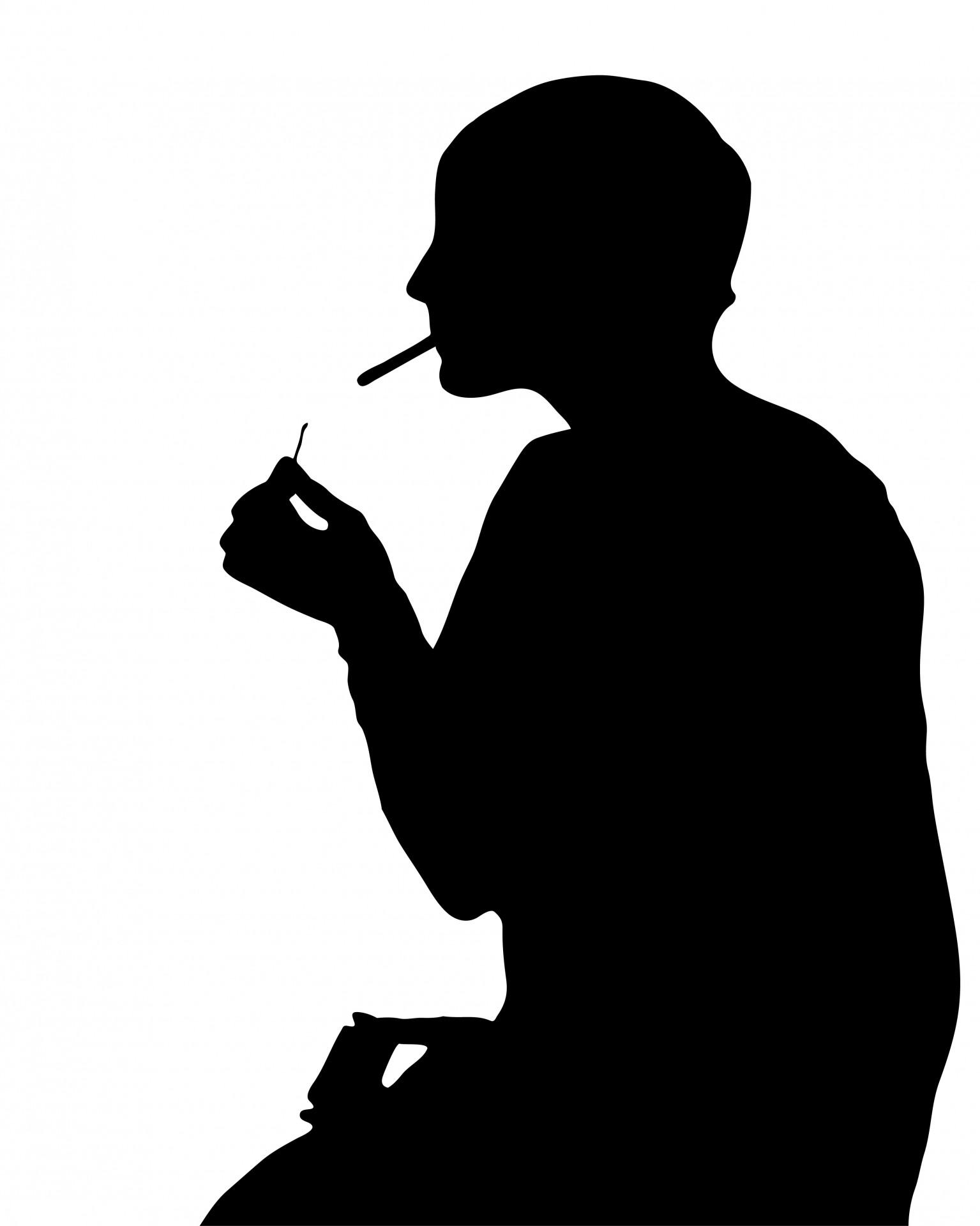Woman Smoking Silhouette Clipart Free Stock Photo.