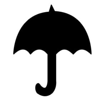 Silhouette Clipart Image of a Black Umbrella.