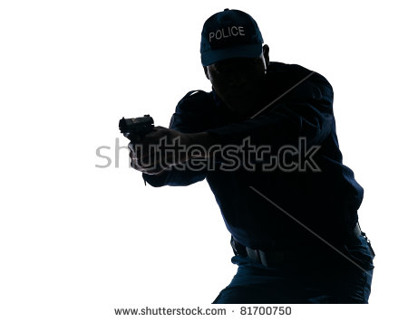 black silhouette clipart of police officer kneeling at cross