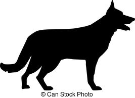 Clipart of German Shepherd Silhouette.