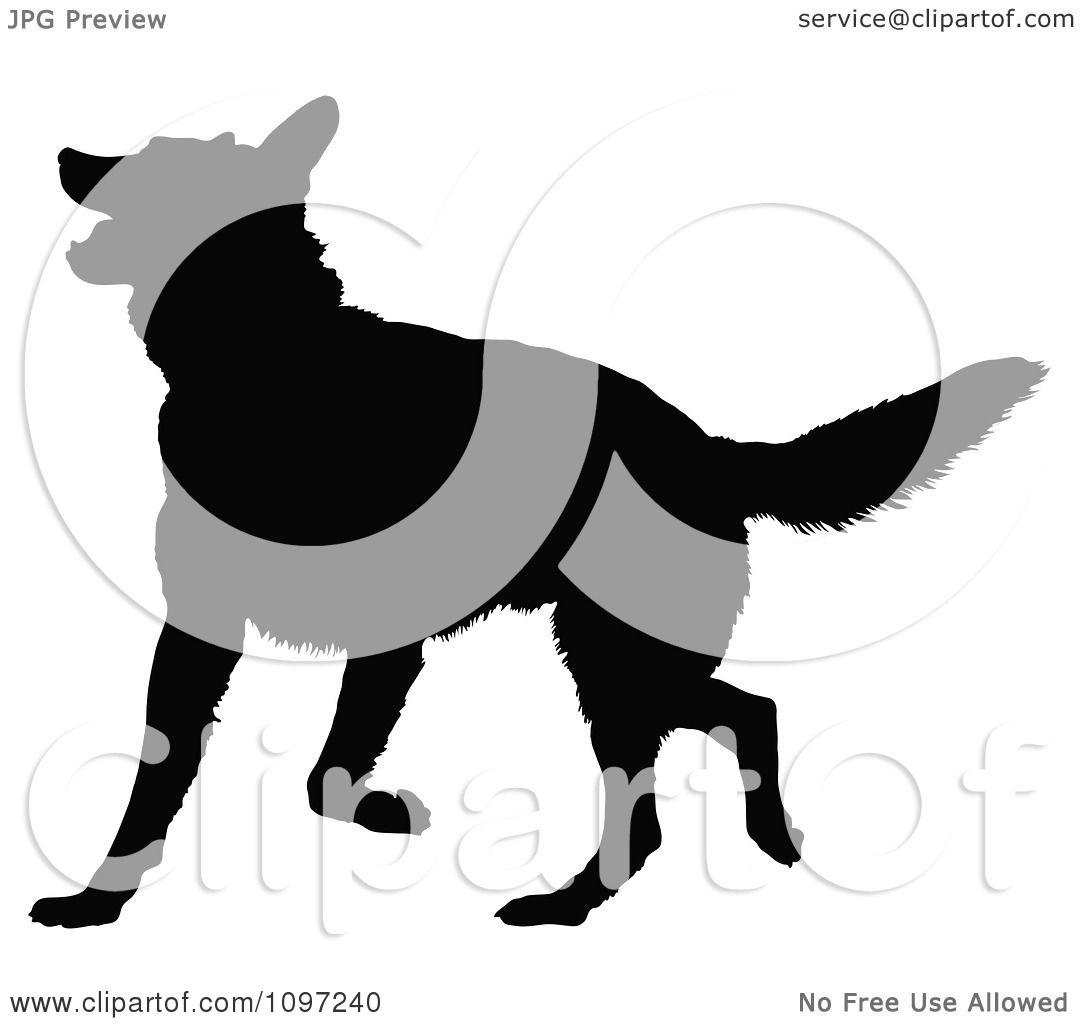Clipart Black Silhouette Of A Playful German Shepherd Dog.