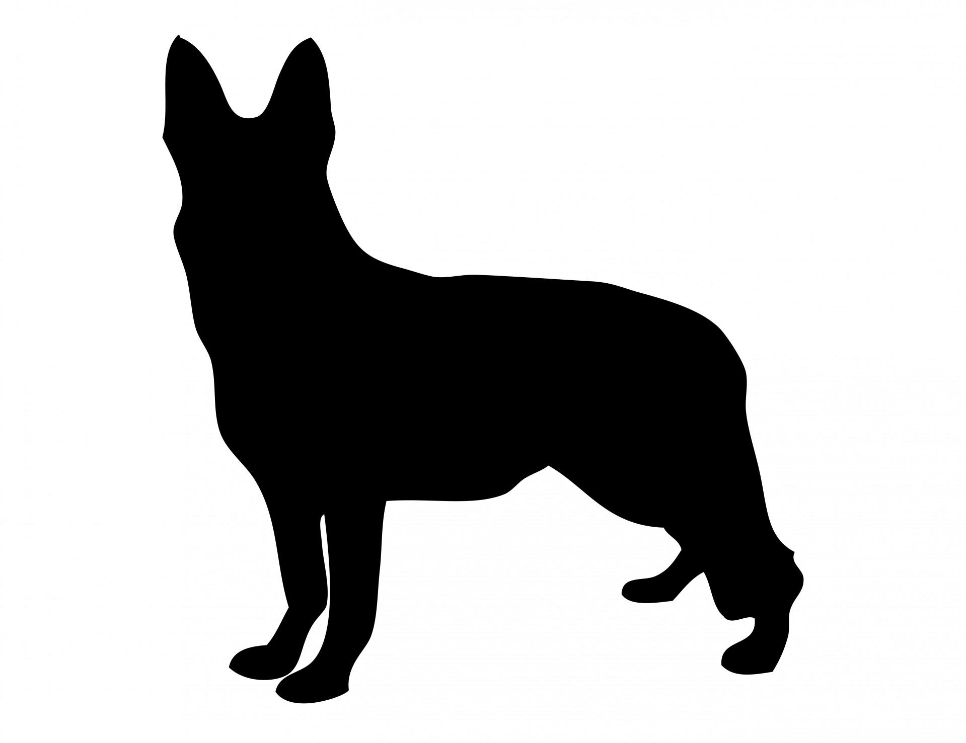 Dog German Shepherd Silhouette Free Stock Photo.